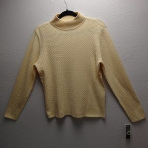 Karen Scott Yellow Butter Creme Cable Knit Sweater